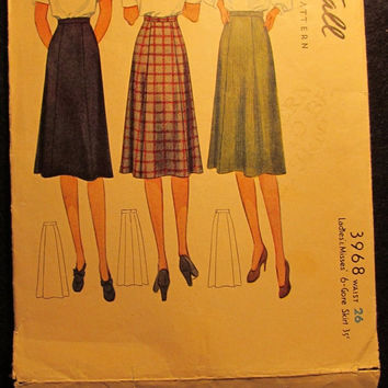 Sale 1940's Simplicity Sewing Pattern, 3968! Waist 26 Small/Medium/women's/Misses/6-Gore Skirt/Flare Skirts/Knee Length Skirts/Career woman