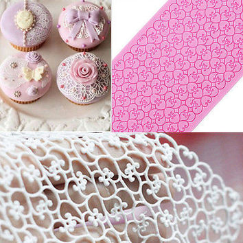 1X Lace Silicone Mold Mould Sugar Craft Fondant Mat Cake Decorating Baking Tool