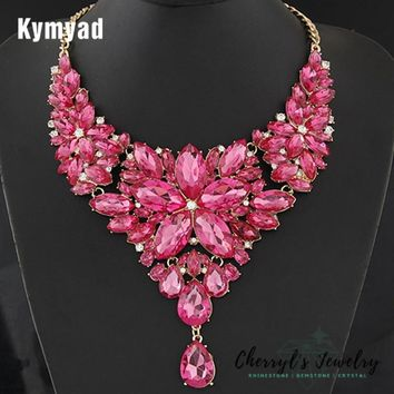 Dramatic Crystal Special Occasion Statement Necklace