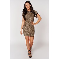 Think Of Me Leopard Print Dress (Taupe/Black)