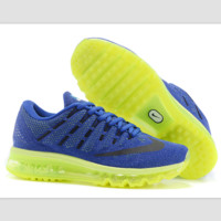 """NIKE"" Trending Fashion Casual Sports Shoes AirMax Toe Cap hook section knited Blue black hook yellow soles"