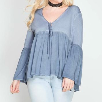 Long Bell Sleeve Enzyme Washed Top - Dusty Blue (Curvy)