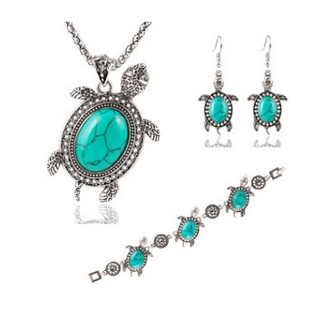 Trendy little turtle metal three pieces of necklace earrings bracelet kit anti-allergy accessories
