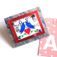 Postage Stamp Brooch, Art to Wear,Love Stamp OOAK, Going Postal, Fun, Funky,Stamp Pin,Recycled Postage
