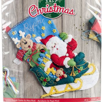 "Santa's Helper Bucilla Felt Stocking Applique Kit 18"" Long"