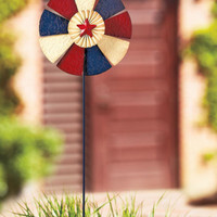Metal Embossed Americana Pinwheel Patriotic Wind Spinner Yard Stake Garden Decor