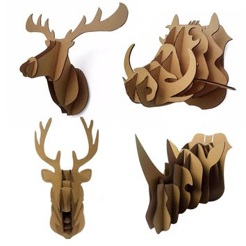 Decorative 3d Puzzle Cardboard Animal Head Wall Decoration Deer / Wild Hogs / Rhinoceros Head Wall Mount Hanging DIY Halloween