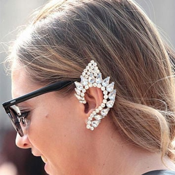 2015 New Fashion Elegant Vintage Punk Gothic Crystal Rhinestone Ear Cuff Wrap Stud Clip Earrings High Quality
