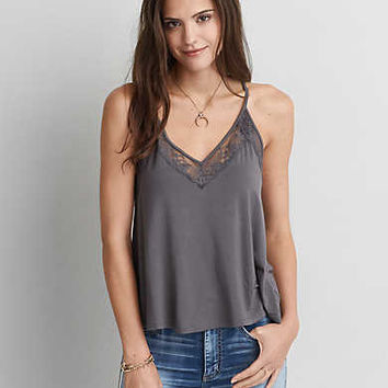 AEO Soft & Sexy Lace Racerback Tank, Burnished Brown