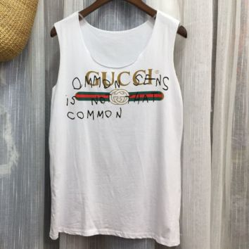 GUCCI summer women's new wild loose letter printing cotton V-neck sleeveless T-shirt vest