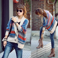 Bohemian Casual Tribal Aztec Oversized Knit Bat Sleeve Sweater Coat Knitwear Cardigan