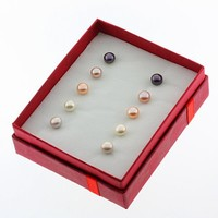 Set of 5 Multi Color 6mm Genuine Cultured Freshwater Pearl Stud Earrings Set