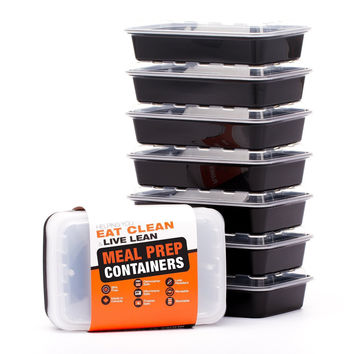 LIFT Certified BPA-Free Reusable Microwavable Meal Prep Containers with Lids 28-Ounce 7 Pack (Includes Ebook) Single Compartment, 28 Ounce