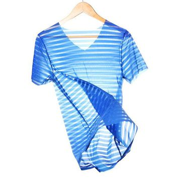Mens Sexy Sport Fitness Ice Silk Stripes Breathable Slim Elastic T-shirt