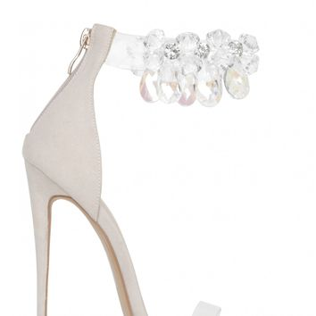 Diamond Girl Clear Strappy Heels With Jewel Detail In Nude Faux Suede