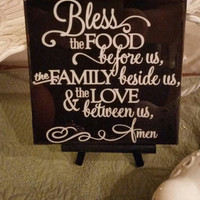 Kitchen Art Decoration, 6x6 inch Tile, Bless this Food Sign,Decorative Kitchen Sign on ceramic tile with epoxy finish/ Custom colors