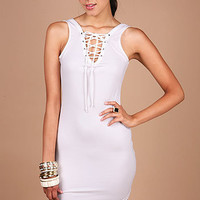 Lace Up Bodycon Dress - Bodycon Dresses at Pinkice.com