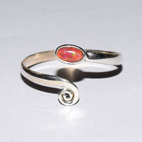 Toe Ring , Opal Toe Ring, Red Opal Ring, Adjustable Toe Ring, Foot Ring