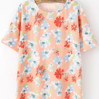 Pink Short Sleeve Floral T-Shirt