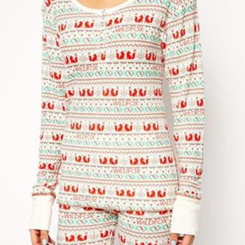 Wildfox Ski Bunny Fox Print Fairisle PJ Set In Gift Box