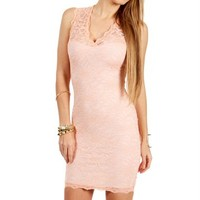 Peach V-Neck Lace Fitted Dress