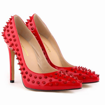 Stiletto Heel Patent Leather Rivet Shoes