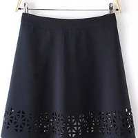 Black Floral Cut-Out Hem High Waist Skirt