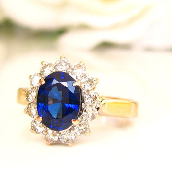 Blue Sapphire & Diamond Halo Engagement Ring 14K Two Tone Gold Heart Motif Diamond Wedding Ring Alternative Engagement Ring Size 7