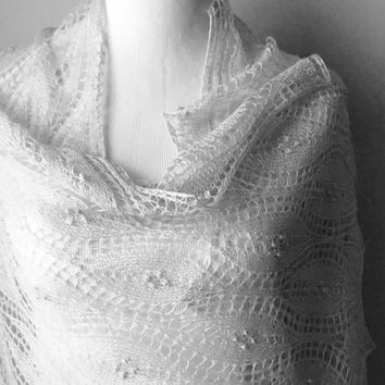 Hand knit Estonian lace shawl. Silver gray lace shawl. Merino silk lace shawl/