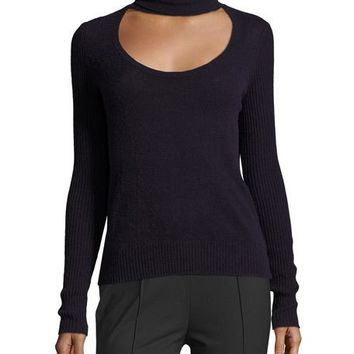 Diane von Furstenberg Gracey Cutout Turtleneck Sweater, Royal Navy