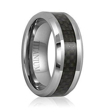 8mm Black Carbon Fiber Inlay Men's Titanium Ring Wedding Band Polished Finish Comfort Fit