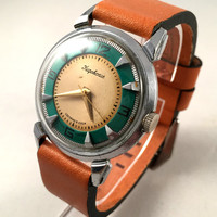 "RARE Vintage 1MChZ Kirova USSR men's watch ""KIROVSKIE"". Beautiful & collectible time piece, comes with new leather strap!"