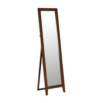Modern Classic Full Length Leaning Floor Mirror with Brown Wood Frame