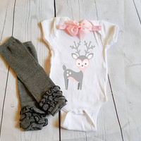 Reindeer outfit, baby Onesuit for newborn and babies 6 Month, 12 Month, and 18 Month graphic baby Onesuit