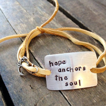 "hand stamped quote bracelet with charm, ""hope anchors the soul"", love, inspirational, wrap bracelet, faux suede bracelet"