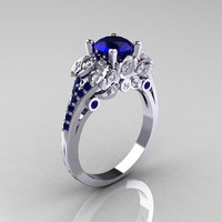 Classic 14K White Gold 1.0 CT Blue Sapphire Blue Topaz Blazer Wedding Ring R203-14KWGBTBS
