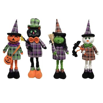 Halloween Decorative Telescopic Doll Figurines For Party Wedding Christmas Holiday Decor Pumpkin Witch Cat Dolls Gift For Kids