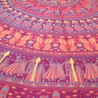 Indian Cotton Circled Round Hippie Cloves Tapestry