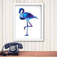 Flamingo Print, Flamingo Wall Art, Geometric Flamingo, Minimalist Art, Flamingo Art, Blue Wall Art, Blue Decor, Girls Room *165*