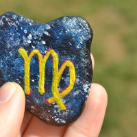 Painted Stone, Painted Rock, Virgo Stone, Zodiac Stones Collection, Zen Garden Stone
