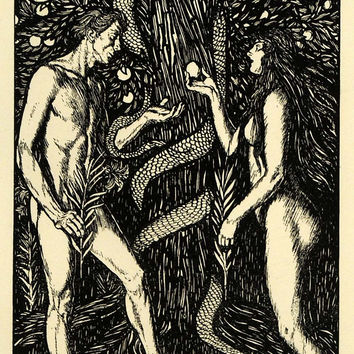 1920 Wood Engraving Edmund J. Sullivan Art Nude Adam Eve Apple Serpent XDA7