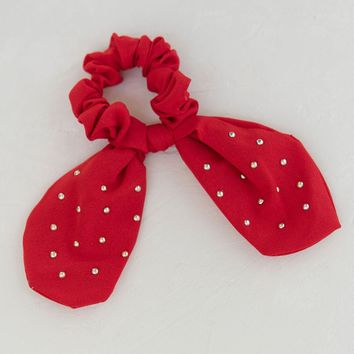 Knotted Bow Scrunchie - Red
