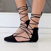 Sweetheart Lace Up Flats
