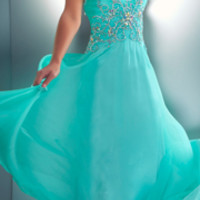 Mac Duggal Prom 2013- Mint Gown With Embellishments - Unique Vintage - Prom dresses, retro dresses, retro swimsuits.