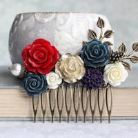 Red Rose Comb Red and Navy Wedding Woodland Hair Comb Nature Bridal Hair Piece Rustic Branch Leaves Pearl Acorn Pine Cone Gold Rose Comb