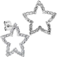 Stainless Steel Post Clear Hollow Star Stud Earrings
