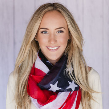 American Flag Scarf Patriotic Infinity July 4th Scarves Red White and Blue INFINITY FLAG  Scarf