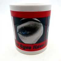 Three sided Artsy Cup - Fired on Original Prints - Three Sexy Drawings on Coffee Cup - Red Black and White Personalized - The Eyes Have It -