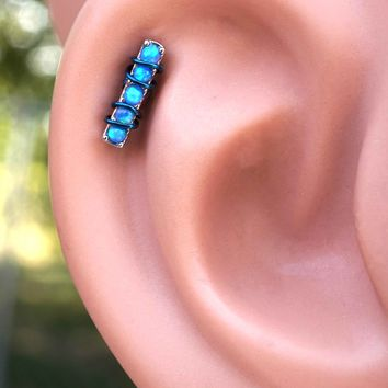 5 Blue Fire Opals Stud Cartilage Earring Piercing 16g