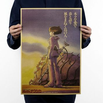 Miyazaki Hayao comic/Nausicaa of the Valley of the Wind/kraft paper/Cafe/bar poster/ Retro Poster/decorative painting 51x35.5cm